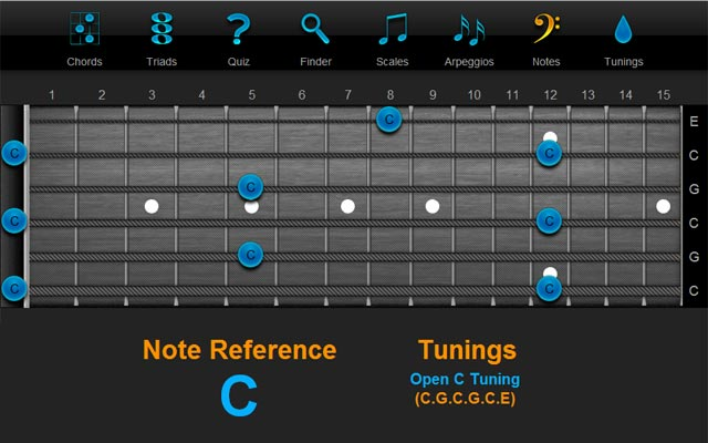 Note (Key) C in Open C Tuning - ChordFinder.com