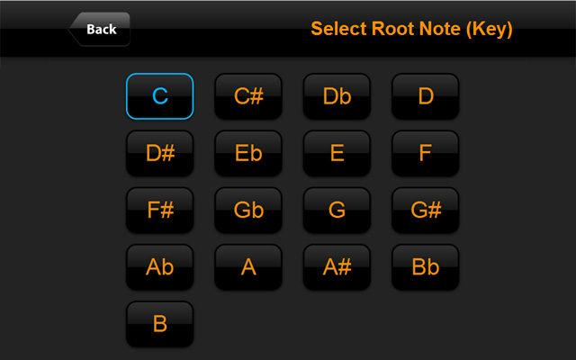 Select Root Note (Key) - ChordFinder.com