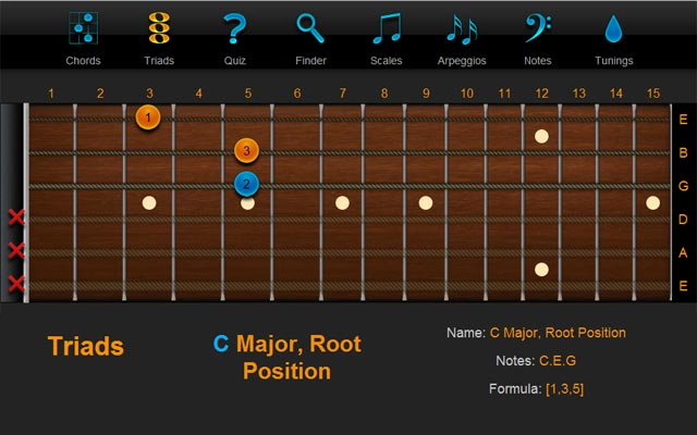 Triad C Major Root Position - ChordFinder.com